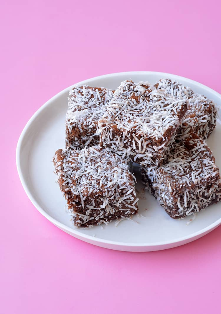 A plate of homemade Lamingtons