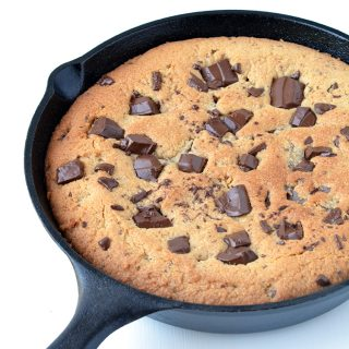 Dark Chocolate Chunk Peanut Butter Skillet Cookie