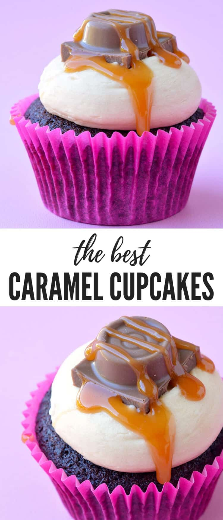 These Salted Caramel Chocolate Cupcakes are AMAZING! Soft chocolate cake topped with homemade caramel frosting, a drizzle of caramel sauce and a chocolate caramel Rolo! Recipe from sweetestmenu.com #dessert #cupcakes #caramel #chocolate
