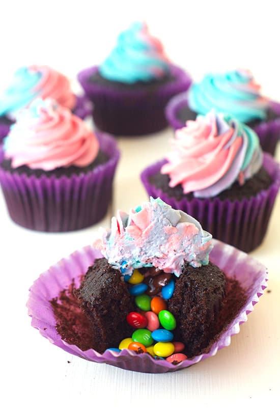 M Amp M Surprise Cupcakes With Rainbow Frosting Sweetest Menu