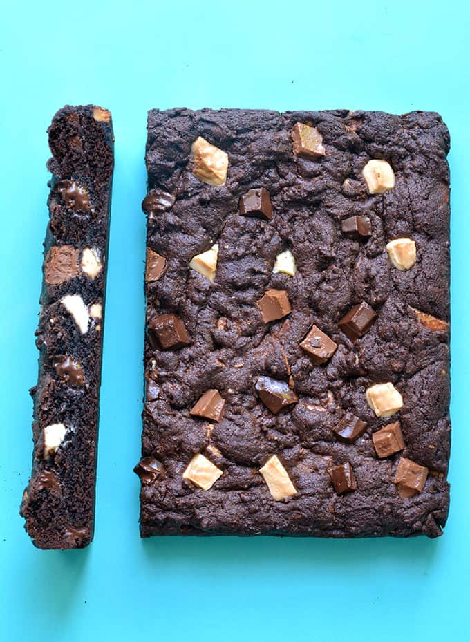 Top view of Triple Chocolate Chunk Cookie Bars