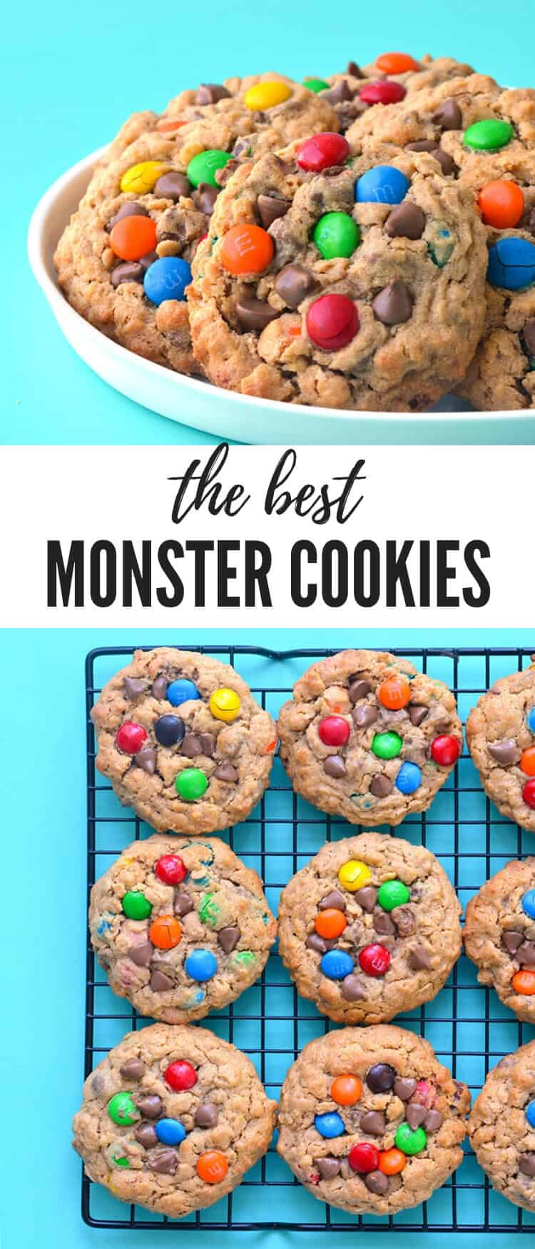 Love Monster Cookies? You'll love these chunky peanut butter Monster Cookies stuffed with chocolate chips, rolled oats and M&M candy. Recipe from sweetestmenu.coom #mms #chocolate #peanutbutter #cookies