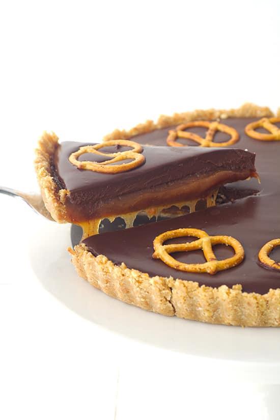 Chocolate Caramel Pretzel Tart | Sweetest Menu