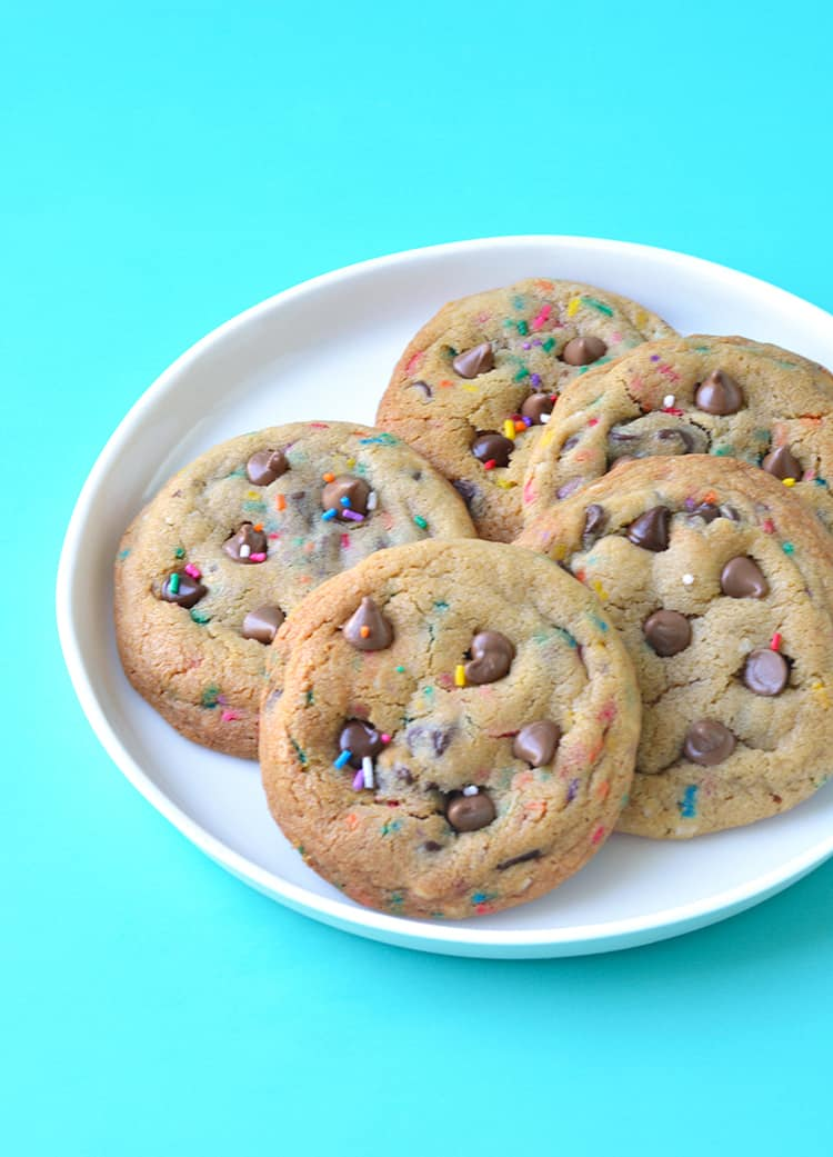 A plate of Funfetti Chocolate Chip Cookies on a white plate
