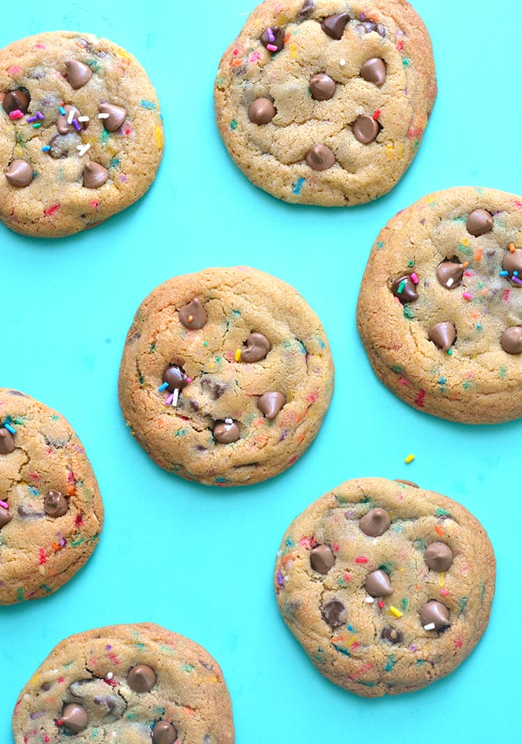 Top view of Funfetti Chocolate Chip Cookies
