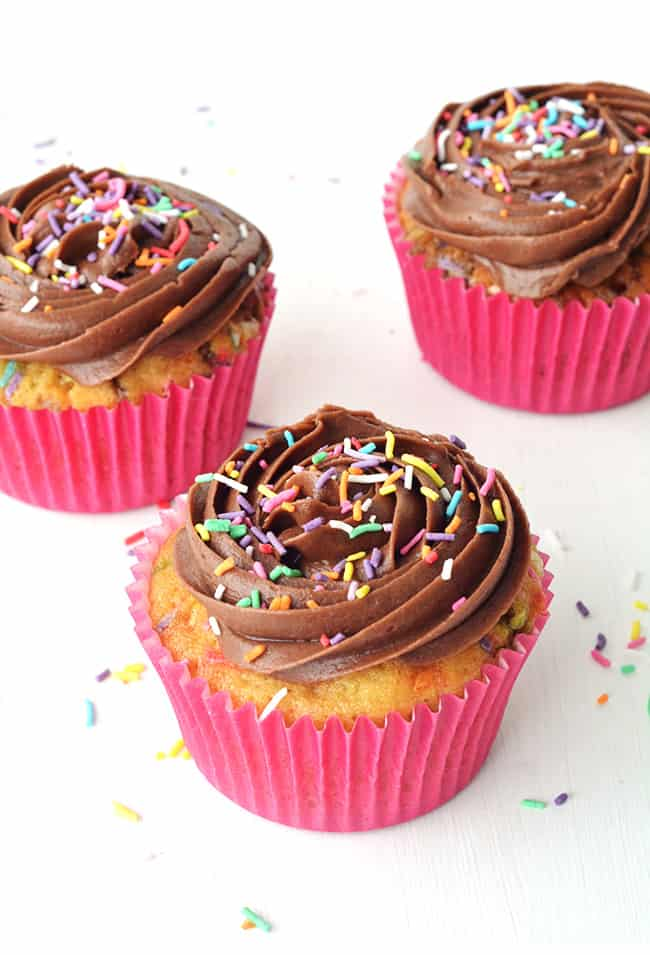 Funfetti Cupcakes with Chocolate Frosting