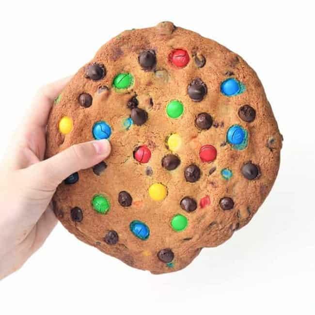 One Giant M&M Cookie | via sweetestmenu.com