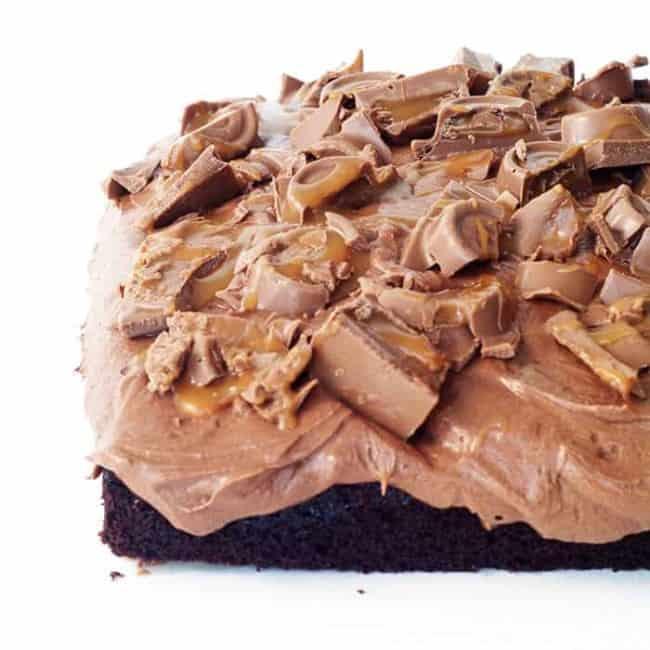 Chocolate Caramel Rolo Poke Cake