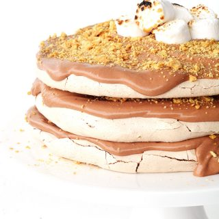 Smores Chocolate Meringue Layer Cake