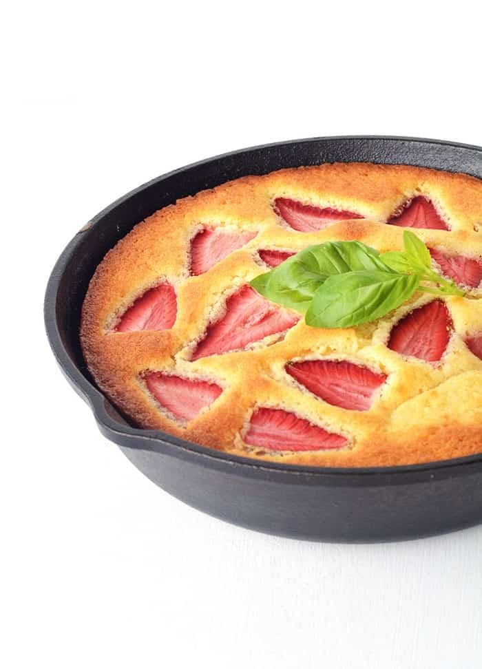 Lemon Strawberry Skillet Cake