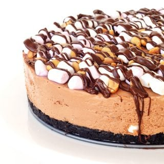 No Bake Rocky Road Chocolate Cheesecake