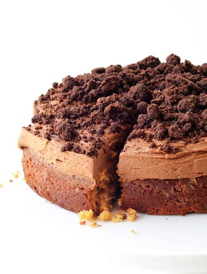 Peanut Butter Chocolate Poke Cake