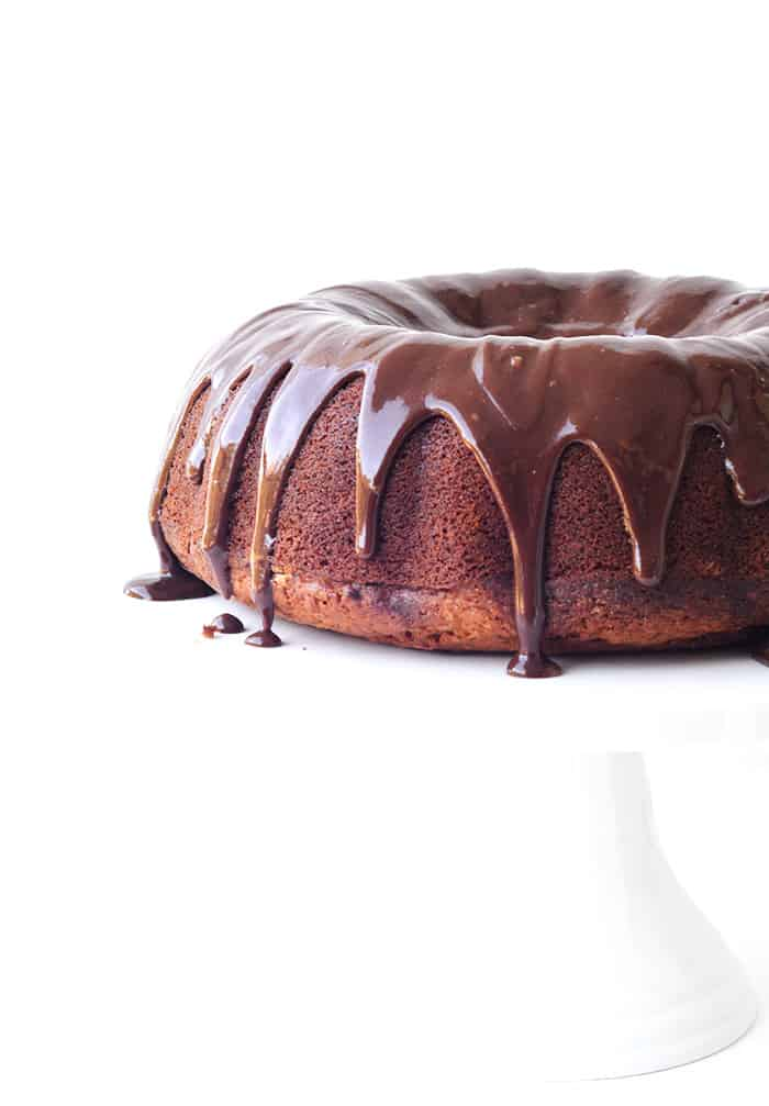 Banana Bundt Cake with Nutella Ganache