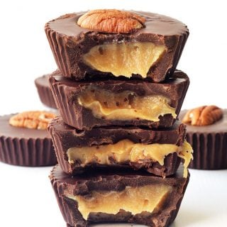 Pecan Caramel Stuffed Chocolate Cups