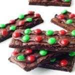 Chewy M&M Chocolate Brownie Bark