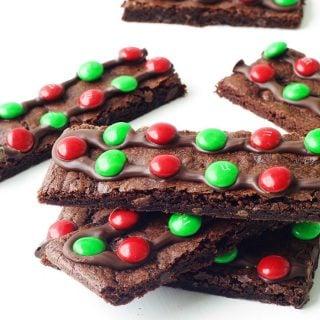 Chewy Chocolate M&M Brownie Bark