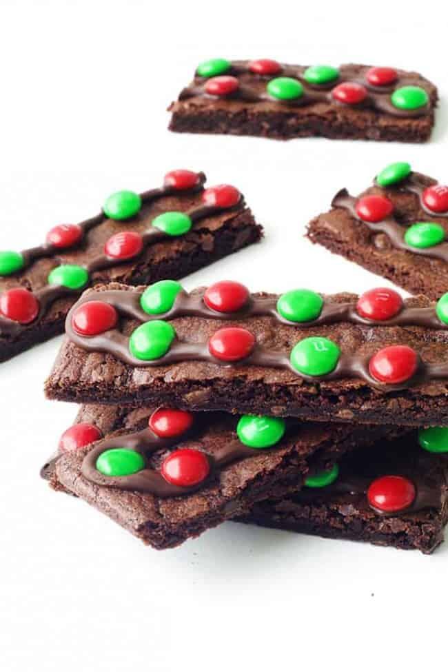 Chewy M&M Chocolate Brownie Bark