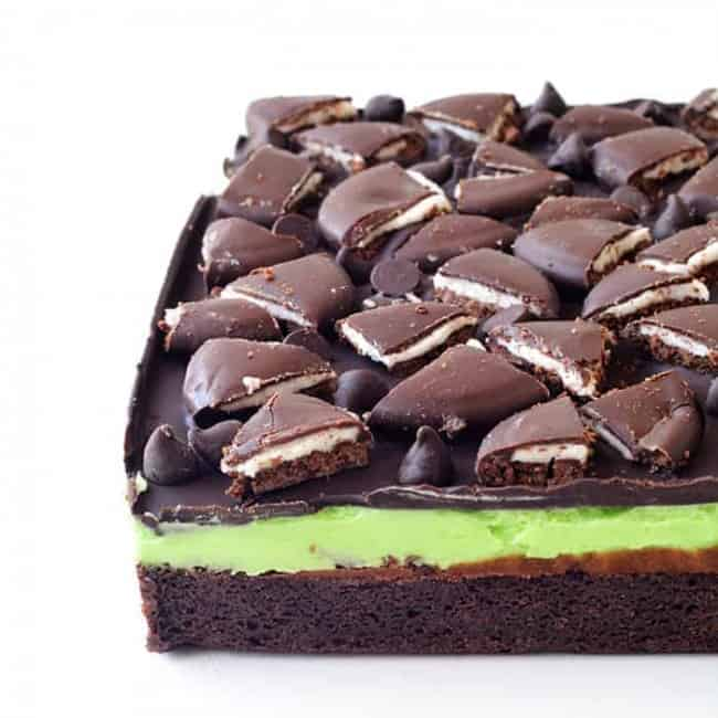 Mint Chocolate Brownies   via sweetestmenu.com