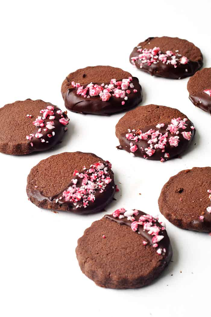 Peppermint Chocolate Shortbread Cookies