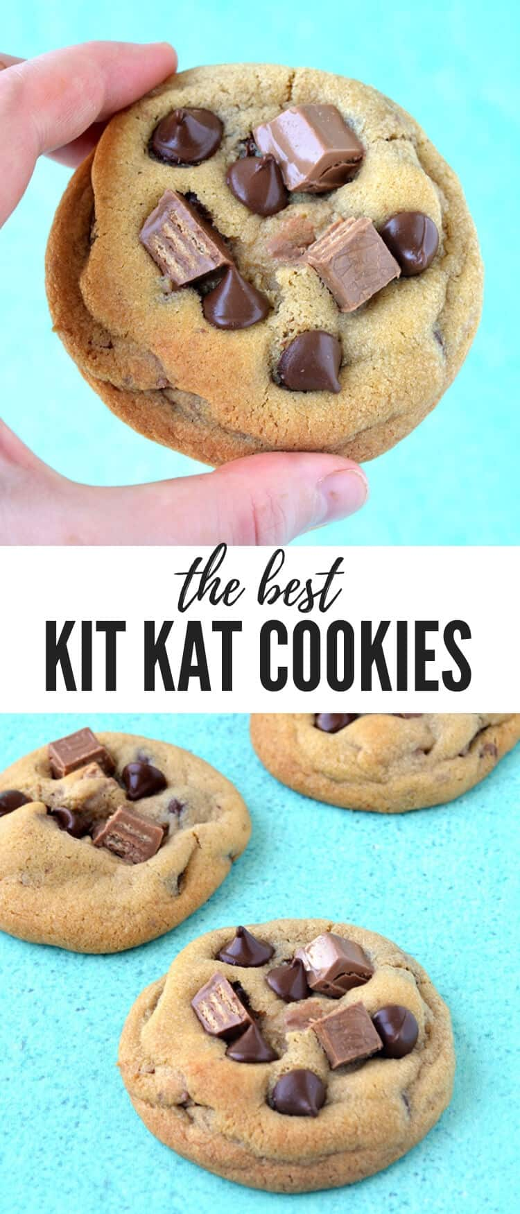 Soft and chewy Kit Kat Chocolate Chip Cookies filled to the brim with Kit Kat candy. These buttery cookies are made with melted butter so they come together using just a bowl and a spoon. Recipe from sweetestmenu.com #cookies #kitkats #chocolate #dessert