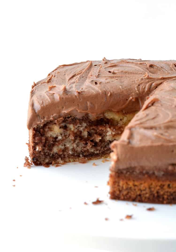 Marble Cake with Chocolate Frosting