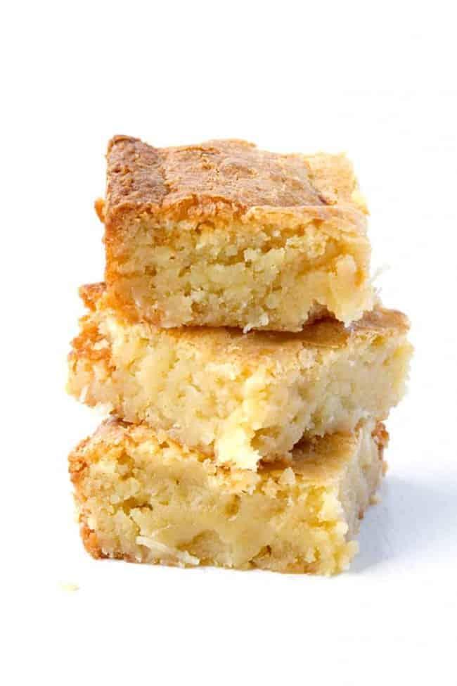 White Chocolate Coconut Brownies   via sweetestmenu.com
