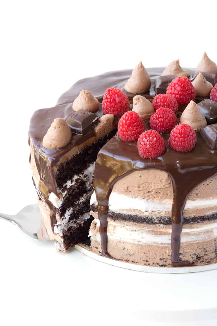 Raspberry Marshmallow Chocolate Layer Cake