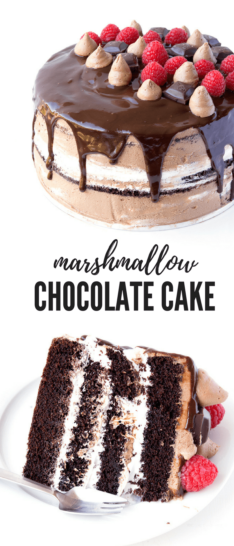 This gorgeous Raspberry Marshmallow Chocolate Layer Cake is AMAZING. Chocolate cake with layers of marshmallow frosting, creamy chocolate frosting and dark chocolate ganache. Recipe from sweetestmenu.com #cake #marshmallow #chocolate #raspberries #dessert