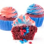Fourth of July Red Velvet Pinata Cupcakes