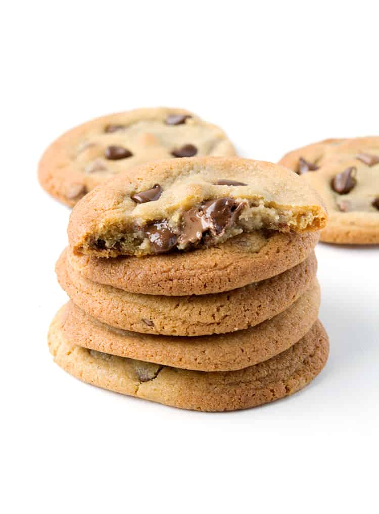 A stack of Cookie Dough Stuffed Cookies