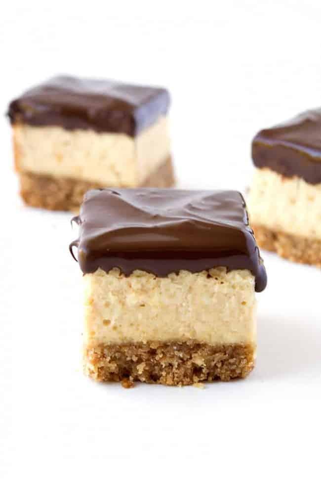 Chocolate Peanut Butter Cheesecake Bites   via sweetestmenu.com