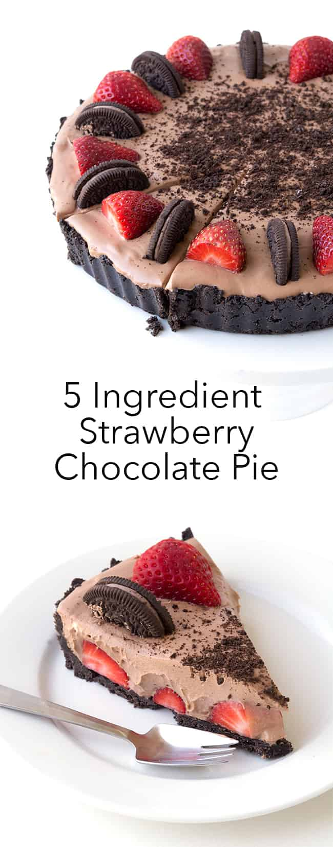 5 Ingredient No Bake Strawberry Chocolate Pie | Sweetest Menu