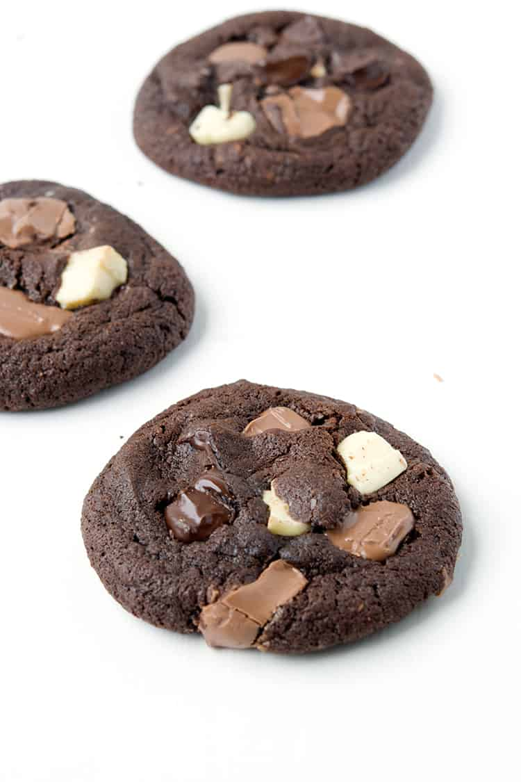 Triple Chocolate Chunk Cookies | Sweetest Menu