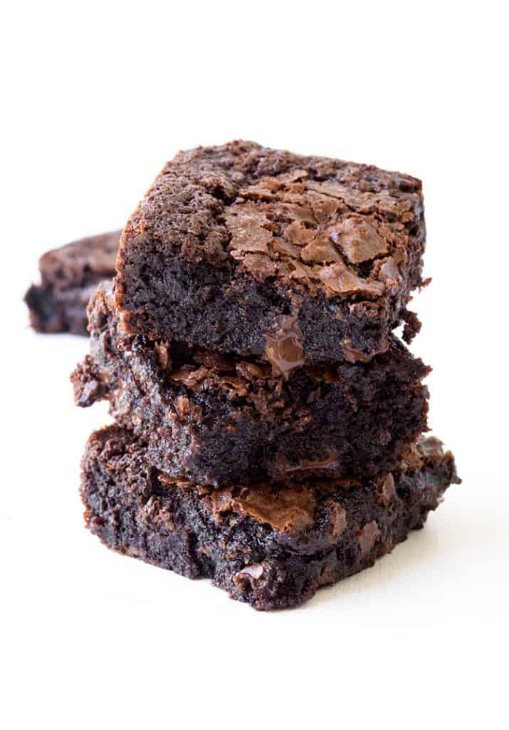 A stack of homemade gluten free brownies