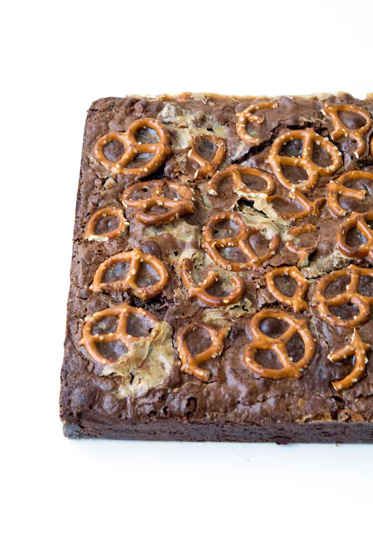 Nutella Caramel Pretzel Brownies | Sweetest Menu