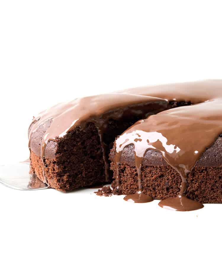 Dairy Free Chocolate Cake with a drippy chocolate ganache