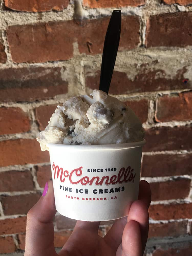 Cookie dough ice cream in a cup from McConnell's Ice Creamery