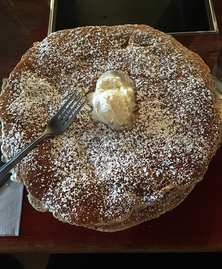 Giant pancakes with whipped butter