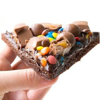 M&M Chocolate Brownie Pizza