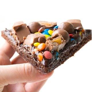 M&M Chocolate Brownie Pizza