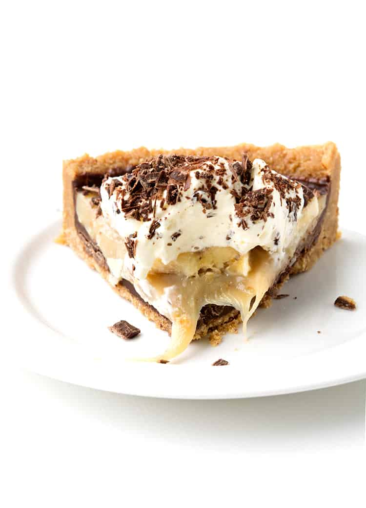 A slice of No Bake Banoffee Pie on a white plate