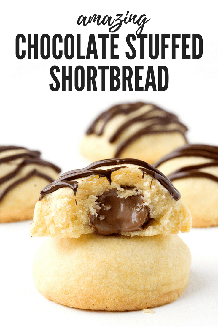 These Chocolate Stuffed Shortbread Cookies are buttery and soft. Drizzled with chocolate, they're really easy to make! Recipe from sweetestmenu.com #cookies #shortbread #Christmas #chocolate