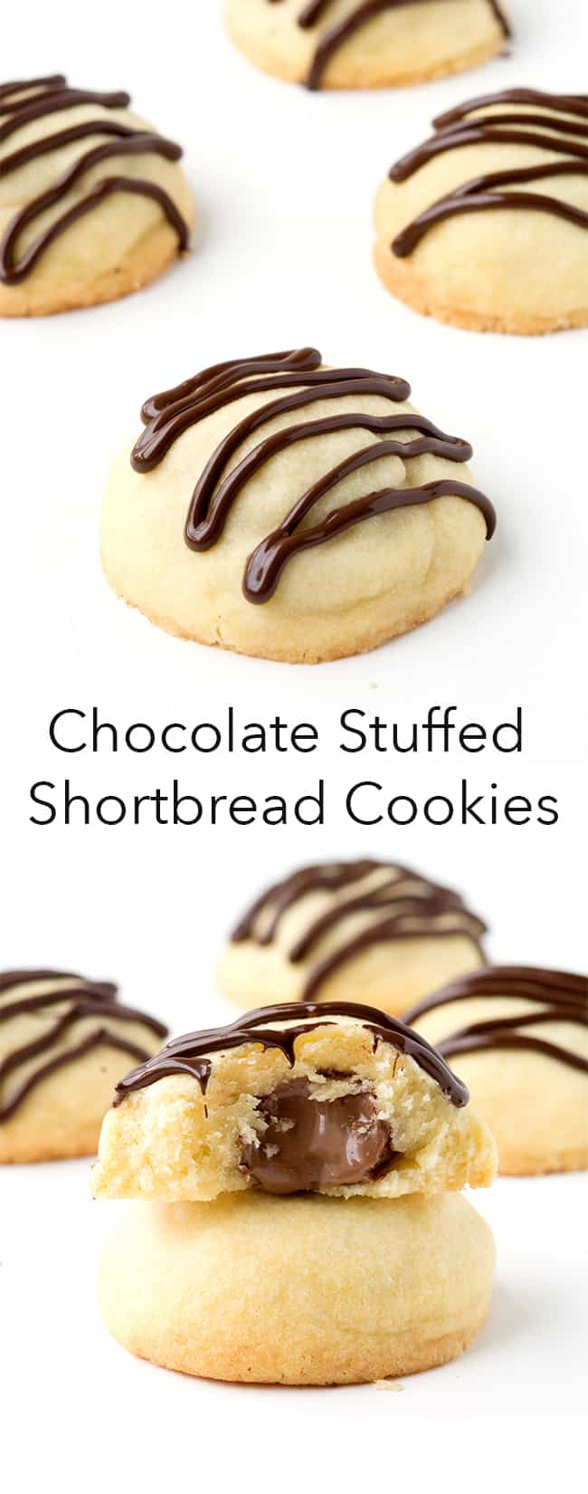 Chocolate Stuffed Shortbread Cookies | Sweetest Menu