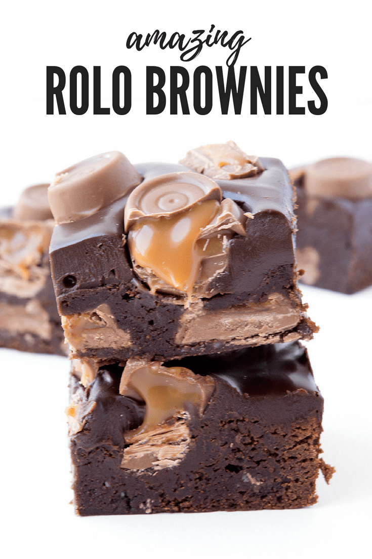 Oh my WORD! These Rolo Brownies are AMAZING! There's Rolos stuffed inside the brownie, with chocolate ganache on top and more chocolate ROLOS! Best dessert ever. Recipe on sweetestmenu.com #brownies #rolos #chocolate #dessert