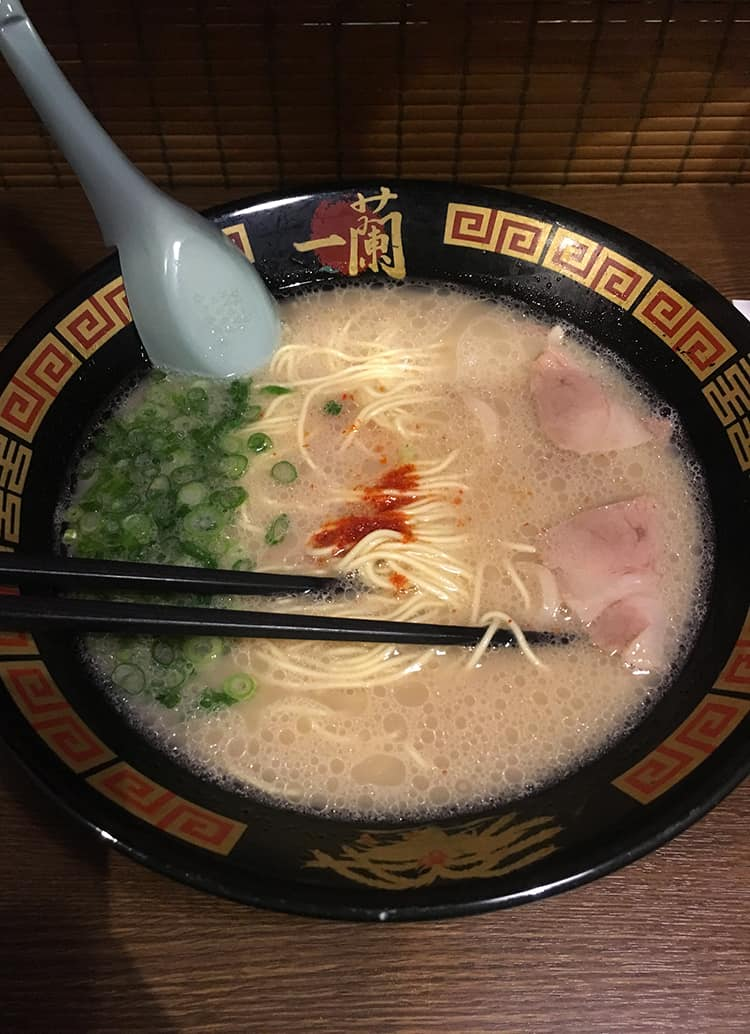 A bowl of pork ramen from Ichiran