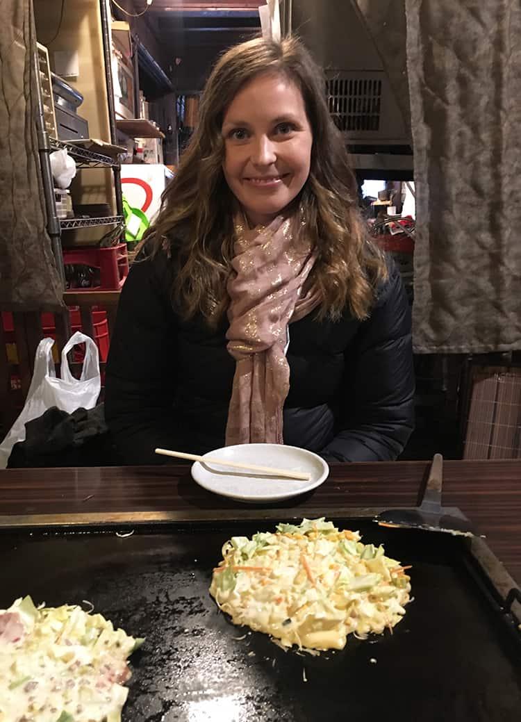 Making okonomiyaki pancakes in Tokyo