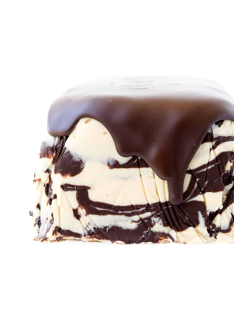 Peanut butter ice cream cake covered in chocolate