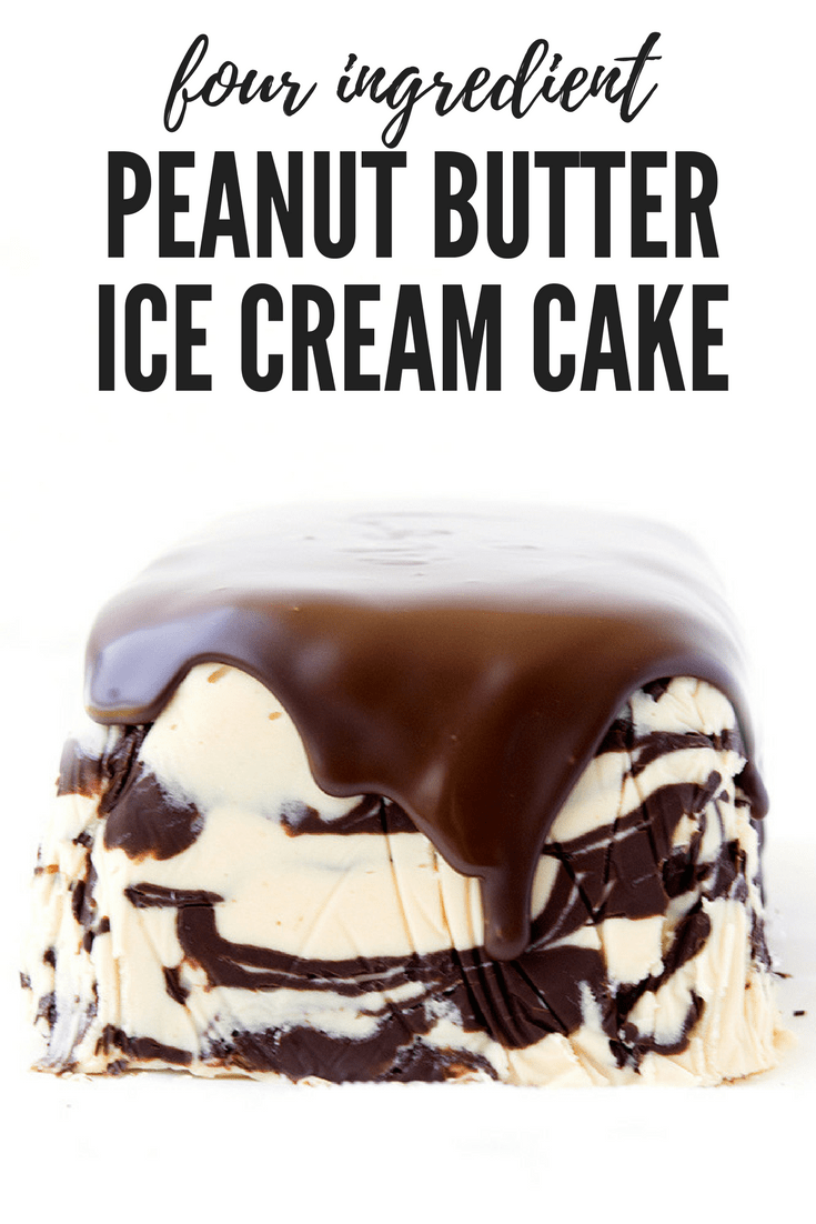 This from scratch ice cream cake is SO easy to make! You only need four ingredients and it tastes amazing! Perfect for anyone who loves peanut butter desserts. Recipe from sweetestmenu.com #peanutbutter #icecream #cake