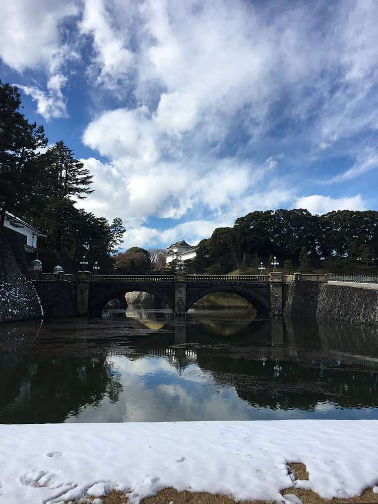 Tokyo Imperial Palace with snow