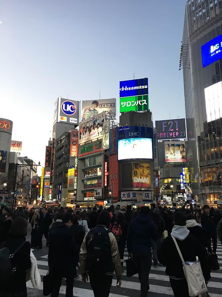 Shibuya Crossing at dusk, Tokyo